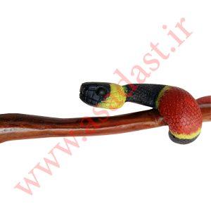 عصای کلکسیونی منبت کاری شده طرح مار مدل Coral Snake