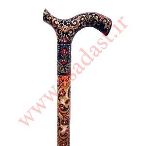 عصا نمین طرح فرش گل و ترمه کاشان رنگ طلایی