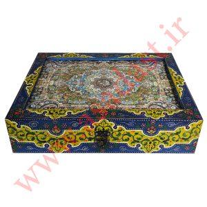 تخته نرد نمین نقش فرش شاه عباسی لچک ترنج کد BG-B718-35.25.7