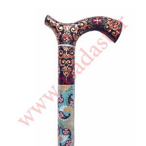 عصا نمین طرح فرش گل و ترمه کاشان رنگ آبی