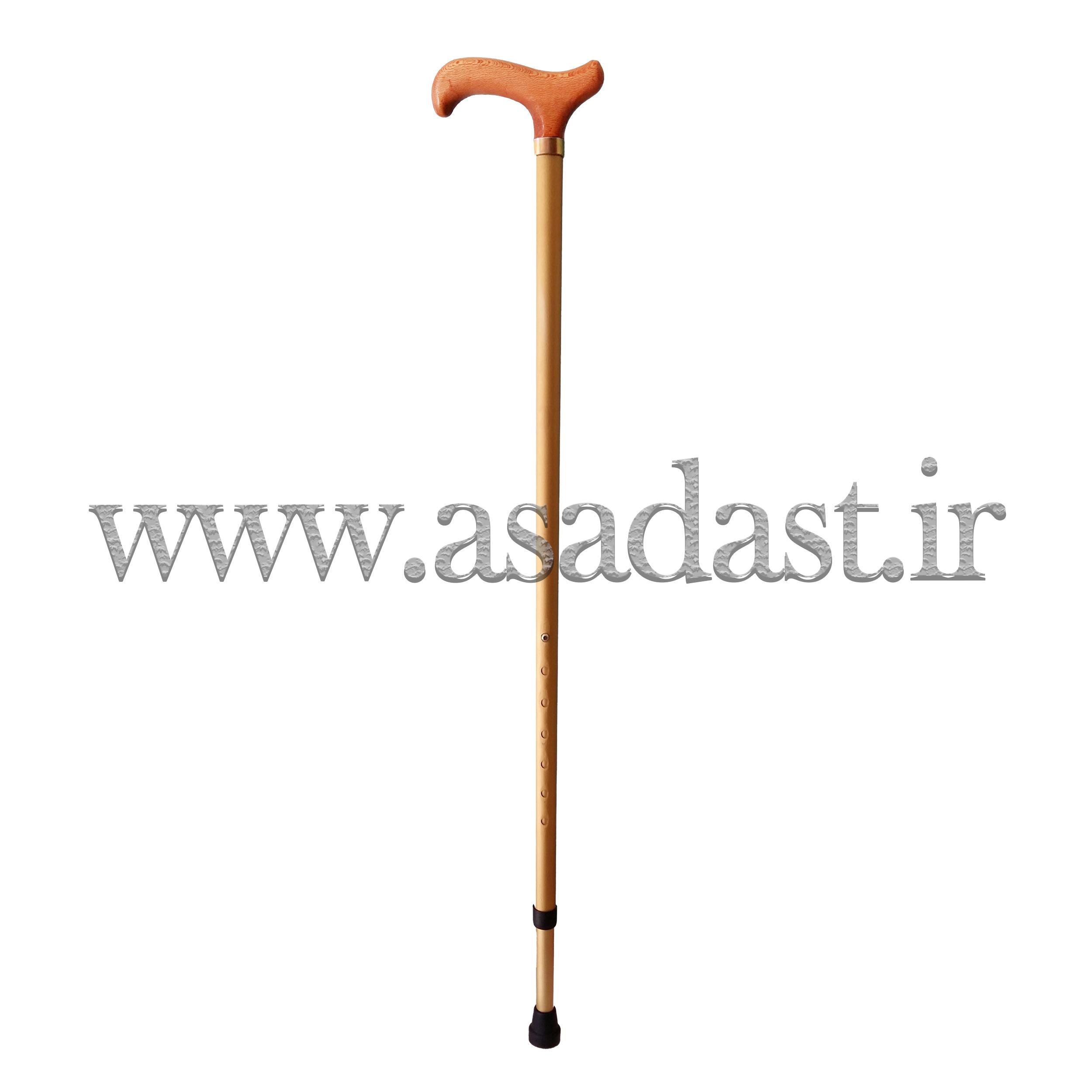عصای آلومینیومی دسته چوبی قابل تنظیم ارتفاع مدل 2-1023